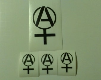 4 Decal set : 1 Large Anarcha Feminist  + 3 Small Anarcha Feminist Vinyl Decals