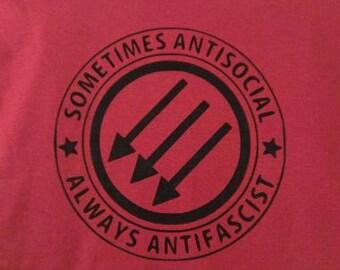 Kids T-Shirt Sometimes Anti-Social Always Anti-Fascist Screen Print in Kids S-L
