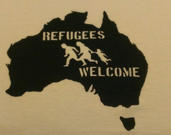 Refugees Welcome Australia Screen Print Hoodie Sizes S-5XL
