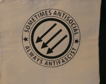 Sometimes Antisocial Always Antifascist Canvas Tote Bag