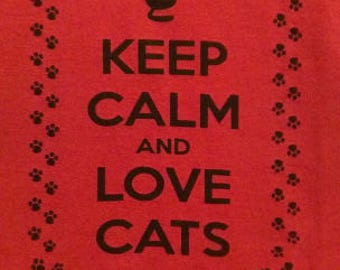Keep Calm and Love Cats Long Sleeve Screen Print T-shirt in Mens or Womens Sizes S-3XL