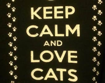 Keep Calm and Love Cats Screen Print Hoodie Sizes S-5XL