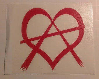 Heart Shaped Anarchy Symbol Vinyl Decal