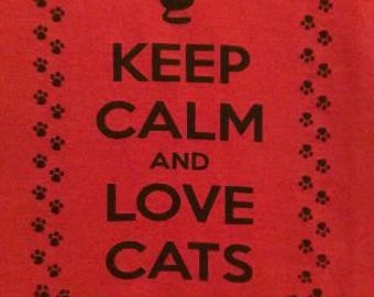 Kid's Keep Calm and Love Cats Screen Print T-shirt in Kids S-L