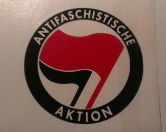 Antifaschistische Aktion Red & Black Flag Vinyl Decal