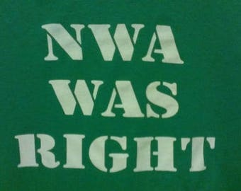 Babies and Toddlers NWA Was Right Onesie or Tot's Tee in Size Newborn, 6 Months, 12 Months, T2, T3, & T4