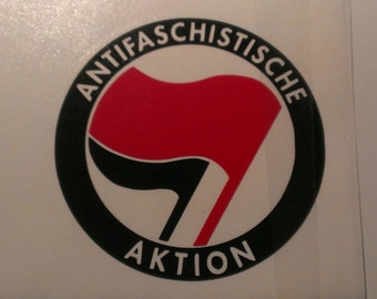 Antifaschistische Aktion Red & Black Flag Vinyl Decal