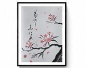 Sakura, Japanese cherry blossom, sumie, zen art,  Japanese art, this is an original painting made by Mitsuru Nagata, Japanese sumi-e artist