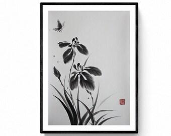 Japanese Iris Flower sumie,  original painting,  Kanji, Caligrafía Japonesa, Shodo by M. Nagata,  Nagataya Kyoto