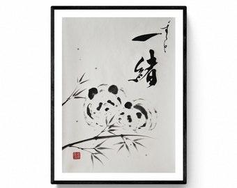 Japanese original hand made ink painting, Panda painting sumi-e and Calligraphy by Mitsuru Nagata -Kyoto