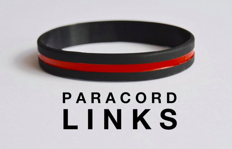 Thin Red Line  Black Silicone Bracelet image 0