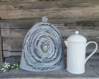 French Coffee Pot Warmer, Felt Coffee Cozy, Gray Felted Coffee Pot Cover, Woollen French Cosy