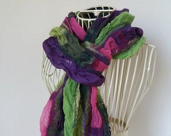Multicolored Silk Scarf, Casual Felted Silk Scarf, Silk and Wool Scarf, Nuno Felted Silk Scarf,  Felted Silk Shawl, Nunofelt Scarf