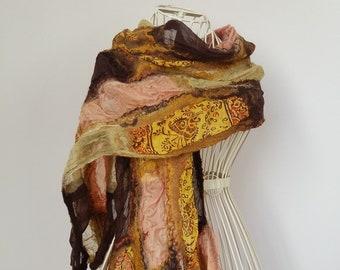Brown Silk Scarf, Casual Felted Silk Scarf, Silk and Wool Scarf, Nuno Felted Silk Scarf,  Felted Silk Shawl, Nunofelt Scarf