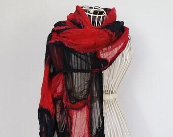 Red & Black Silk Scarf, Casual Felted Silk Scarf, Silk and Wool Scarf, Nuno Felted Silk Scarf,  Felted Silk Shawl, Nunofelt Scarf