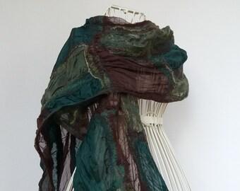 Green & Brown Silk Scarf, Casual Felted Silk Scarf, Silk and Wool Scarf, Nuno Felted Silk Scarf,  Felted Silk Shawl, Nunofelt Scarf