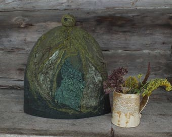 French Coffee Pot Warmer, Felt Coffee Cozy, Green Felted Coffee Pot Cover, Woollen French Cosy