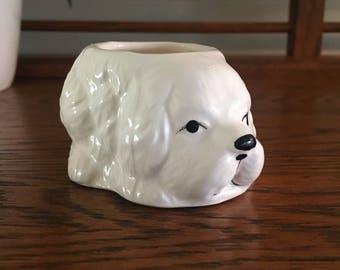 Small Vintage White Dog Planter