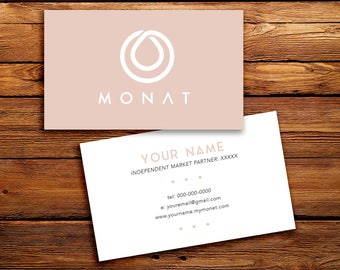 Monat business cards etsy monat business cards buyer cards custom monat hair care pink solid minimalistic simple reheart Gallery