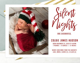 silent nights are overrated holiday photo card birth announcement christmas birth announcement digitalprintable baby christmas card