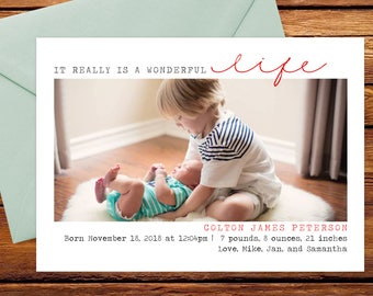 It's A Wonderful Life - Holiday Photo Card Birth Announcement - Christmas Birth Announcement - Digital or Printable Baby Christmas Card