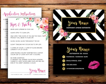 lipsense business cards buyers cards senegence custom black white striped watercolor florals - Senegence Business Cards
