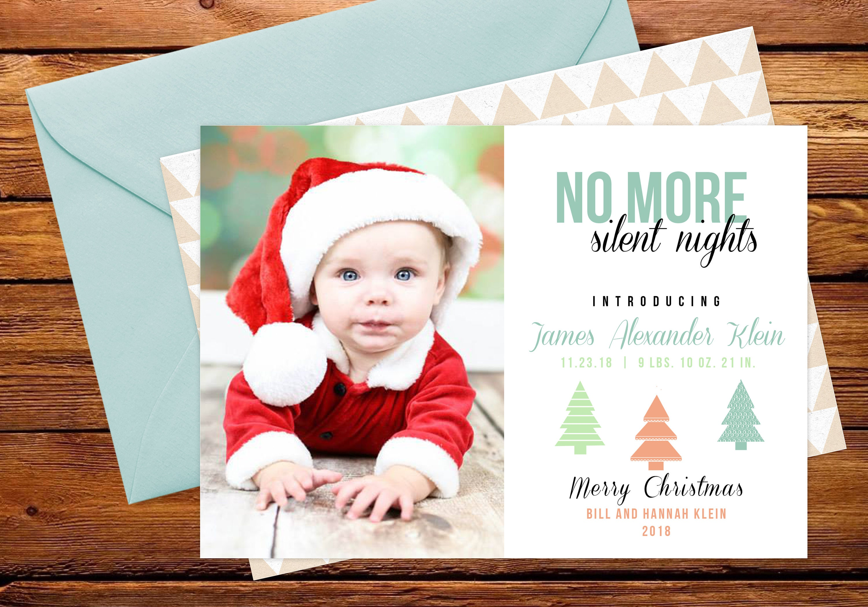 No More SIlent Nights Holiday Photo Card Birth Announcement   Etsy