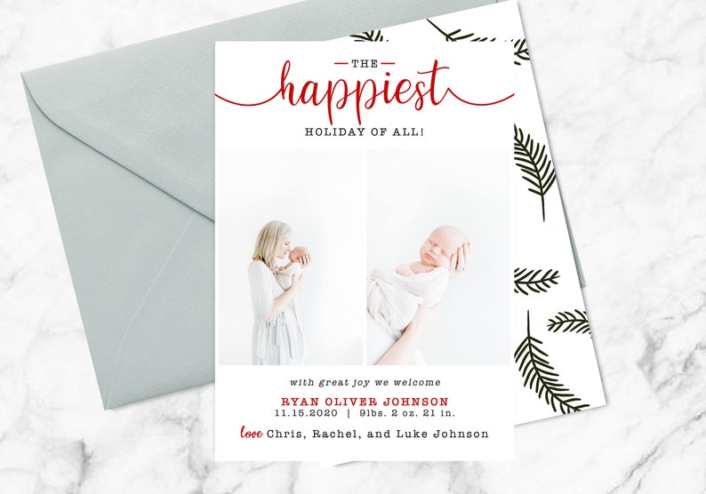 Digital or Printable Religious Christmas Card The Happiest Holiday of All Holiday Christmas Photo Card Birth Announcement