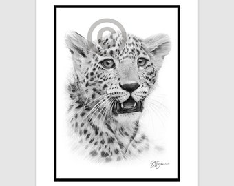 "LEOPARD CUB - Original B&W Pencil Drawing - Portrait size 11.75"" x 8.25"" - Mount (matte) size 14"" x 11"" - Signed - animal wildlife art"