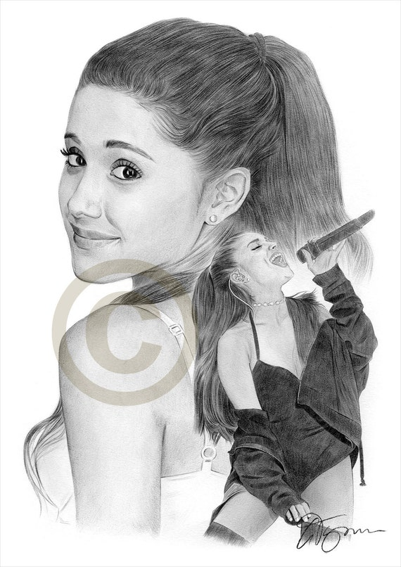 Ariana grande pencil drawing print a4 size artwork signed