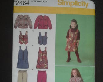 Simplicity 2484, 2484, girls cropped pants, girls vest pattern, girls jumper pattern, girls jacket pattern, diy vest, diy cropped pants