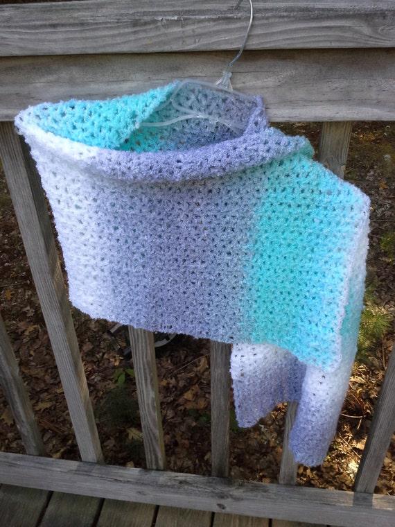 Aqua rayas manto de oración chal azul abrigo de rayas