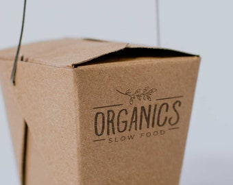 Custom logo stamp for eco take away food containers, custom food packaging, eco friendly food package with your logo, restaurant stamp