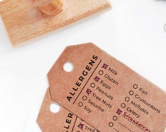 food allergy icon stamps food labels Food and allergies icon wood stamps for packages wedding escort cards food icon stamps with text