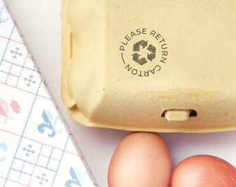 Please return carton egg stamp with recycle symbol, carton egg stamp for recycling, return egg carton stamp with chicken or duck design