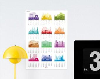 2018 Calendar Printable, gift for travelers, skyline calendar, wanderlust gift, large wall calendar, printable calendar, big size calendar