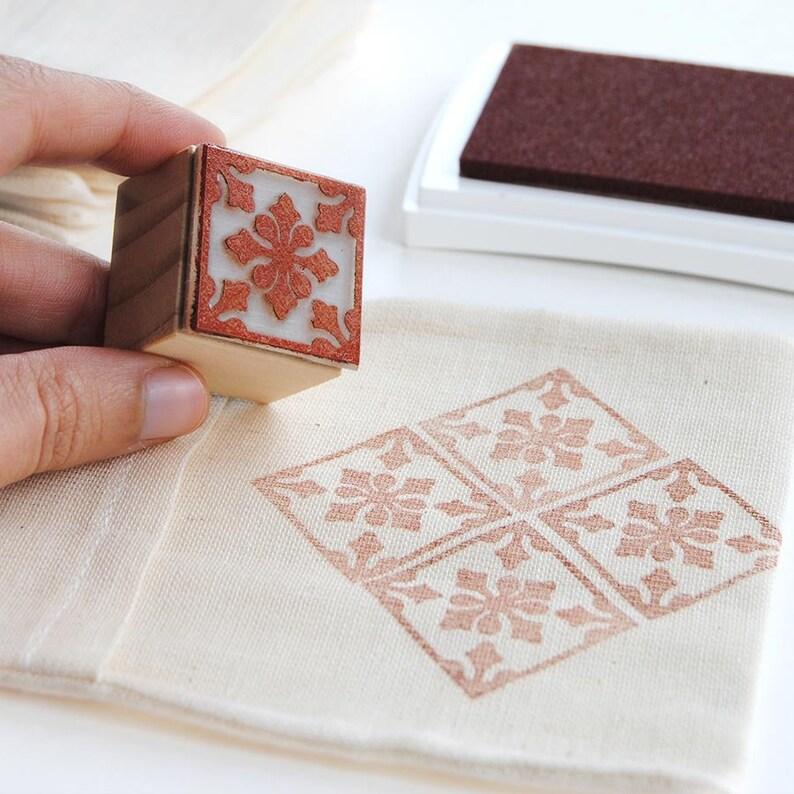 bullet journal decor, tile pattern DIY, flower tile stamp, minimal flower  rubber stamp, wrapping paper DIY, gift for mom, Spain crafts DIY