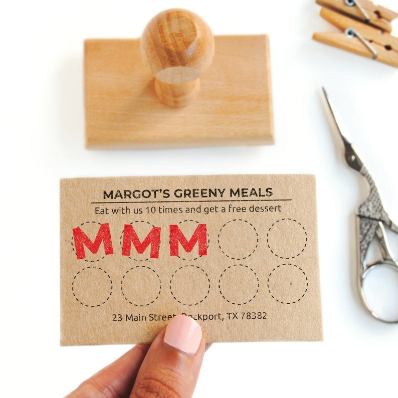 loyalty card design stamp DIY rewards card frequent buyer card loyalty card stamp with mini letter stamp punch card custom letter stamp