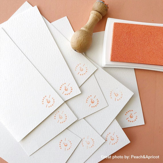 0.5 x 0.5 Peach Wooden Rubber Stamp