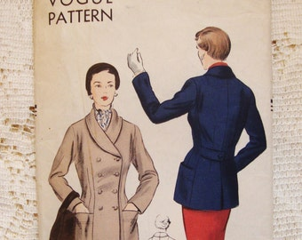 Vintage 1950's Vogue Pattern #7025 Fitted Double Breasted Jacket - 36 Bust