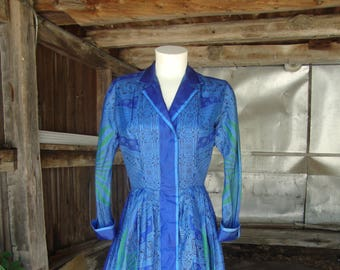 Vintage 1950's 1960's Blue Silk Print Full Skirt Shirt Dress * Extra Small