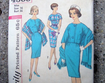 """Vintage 1950's 1960's Simplicity Pattern for Dress, Jacket and Stole * 36"""" Bust"""