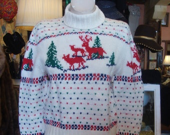 d663053b1215 Vintage 1960 s Hand Knit Wool Sweater with Deer Elk and Trees   Size Small
