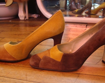 e7afeab9a8b6 Vintage 1970 s Suede Patchwork High Heel Shoes   Size 7.5