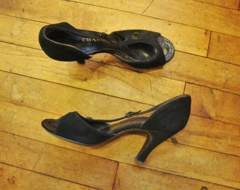 5df933fd3497 Vintage 1950 s Black Suede Open Toe D orsay High Heel Pumps Shoes   Size  6.5 B   Lucy
