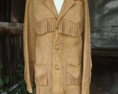 Men 39 s Vintage 1940 39 s 1950 39 s Trego 39 s Westwear Tan Suede Fringed Jacket 42 Chest