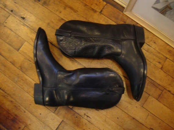 Vintage Black Leather Code West Western Cowboy BootsSize 10.5 D