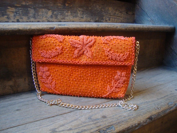 Vintage 1960's 1970's Orange Beaded Shoulder Bag P