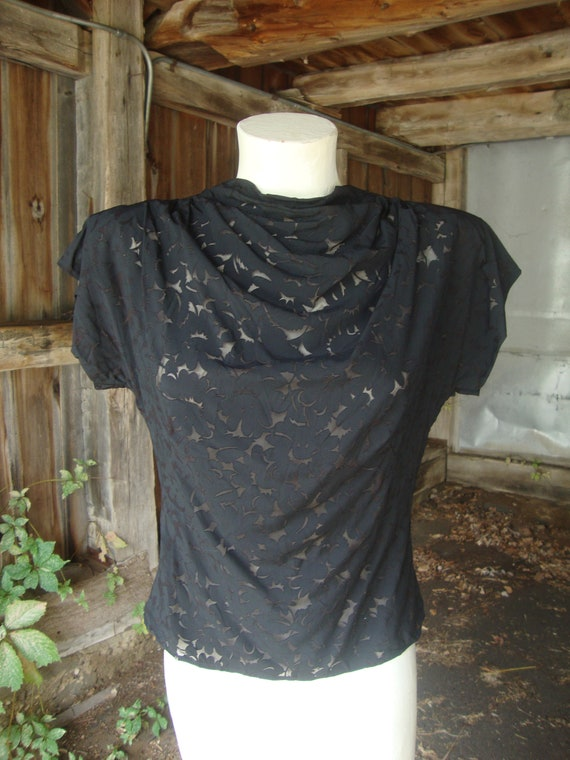 Vintage 1940's 1950's Black Rayon Shadow Lace Back