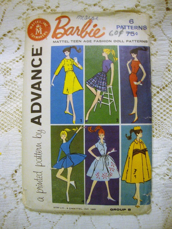 Dated 1961 Size 11.5 Vintage McCall/'s Barbie and Others Doll Clothes Pattern